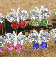 Wholesale 2016 hot sell Fresh Silver Plated Pretty Butterfly Flower Full Crystal Rhinestone Earrings Studs mm Stud