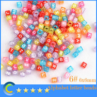 Acrylic, Plastic, Lucite letter beads - 1000pcs package mm Translucent With White Alphabet Pony Beads Letter Beads Acrylic Cube Shape Beads For Loom Band Bracelet mixed color