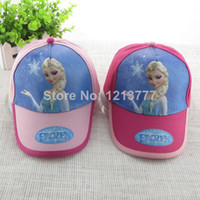 Wholesale 10pcs Fashion Frozen Baby Hats Pink Rose Children European Cartoon Princess Elsa Anna Baseball Caps Kids Sun Hats