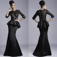 Wholesale 2014 Janique Evening Gowns Sheer Crew Neck Black Peplum Satin Floor length Lace Applique Half Long Sleeves Sexy Mermaid Prom Dresses JQ3408