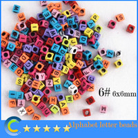 Wholesale 1000pcs mm Multi color With Black Alphabet Pony Beads Letter Beads Cube Shape Beads For Loom Band Bracelet