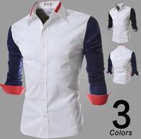 mens dress shirts - Shirt mens dress shirts stitching lapel shirts long sleeve shirts casual shirt outerwear men clothing black blue
