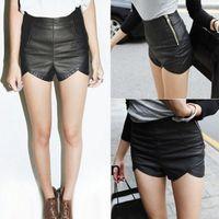 Wholesale 2016 New Fashion Women s Slim Black Zipper High Waist PU Leather Shorts Women Casual Boot Pants G0555