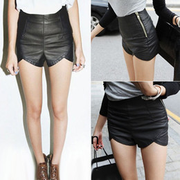 Wholesale 2014 New Fashion Women s Slim Black Zipper High Waist PU Leather Shorts Women Casual Boot Pants G0555