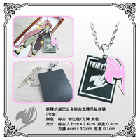Wholesale Fairy Tail chain Dual cards chaincosplay necklace new do anime keychain Natsu Dragneel have six color Cinnamon Red Pink Blue Black Silver