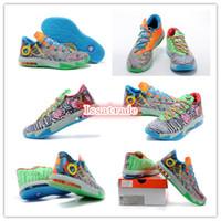 Mid Cut Unisex Genuine Leather Wholesale Famous Player Kevin Durant KD 6 What The Men's Sports Basketball Shoes - Hoop Purple Urgent Orange-Shark Size 8---12