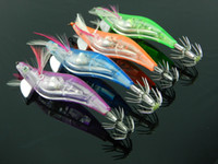 Wholesale 2014 inches OZ CM g Squid Fishing Jigs Lures LED Light electronic Wood Shrimp led flashing free shippping