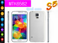 Wholesale New s5 Smartphone i9600 mobile phone MTK6582 Quad Core GB RAM GB ROM MP Android G GPS wcdma gsm Fingerprint unlock Heart Rate