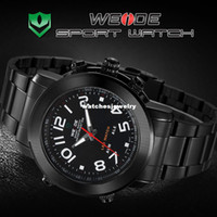 Sport Men's Round Wholesale-Genuine WEIDE Men's Black Stainless Steel Metal Band Digital LED Date Alarm Male Yellow Sport Analog Quartz Wrist Watch WH1105B