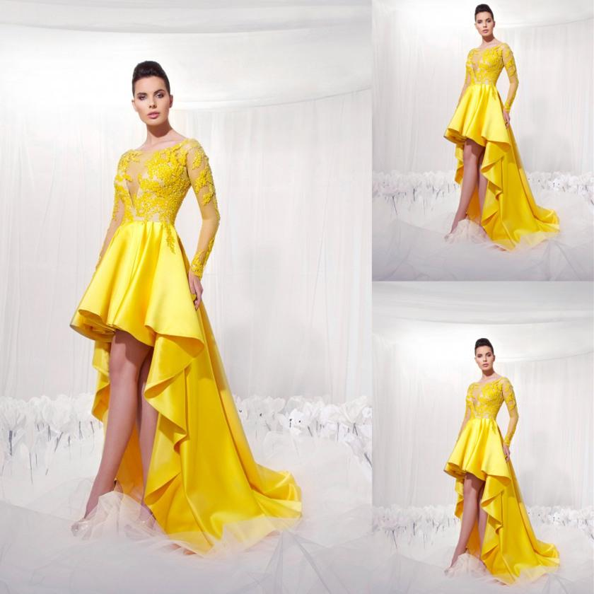 New Designs 2014 Bright Yellow Cocktail Dresses Lace Applique A ...