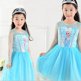Wholesale HOT New summer dress Chidren Frozen Queen clothing baby girls elsa dress kids cartoon Frozen dress child girl clothes D0625