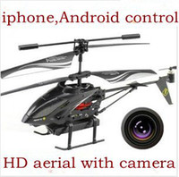 other other other Wholesale-3.5CH iphone ipad android phone control rc helicopter with HD camera and gyro, USB charge funny cheap model toys + free shipping