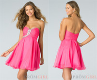 Wholesale Cheap In Stock Homecoming Dresses Beads Sweetheart Neck Zip Back Short Length Short Prom Dresses Pink Bridesmaid Dresses Under