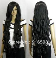 "Wig,Half Wig Synthetic Hair Yes 33"" Heat resistant Long Bang Black Spiral Wavy Cosplay Party Hair Wig"