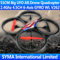 other other other Wholesale-51CM Big 2.4G 4.5CH 6-Axis GYRO LCD Quadcopter WL V262 UFO VS Parrot AR.Drone 2.0 V222 U818A RC Helicopter Remote Control Toys