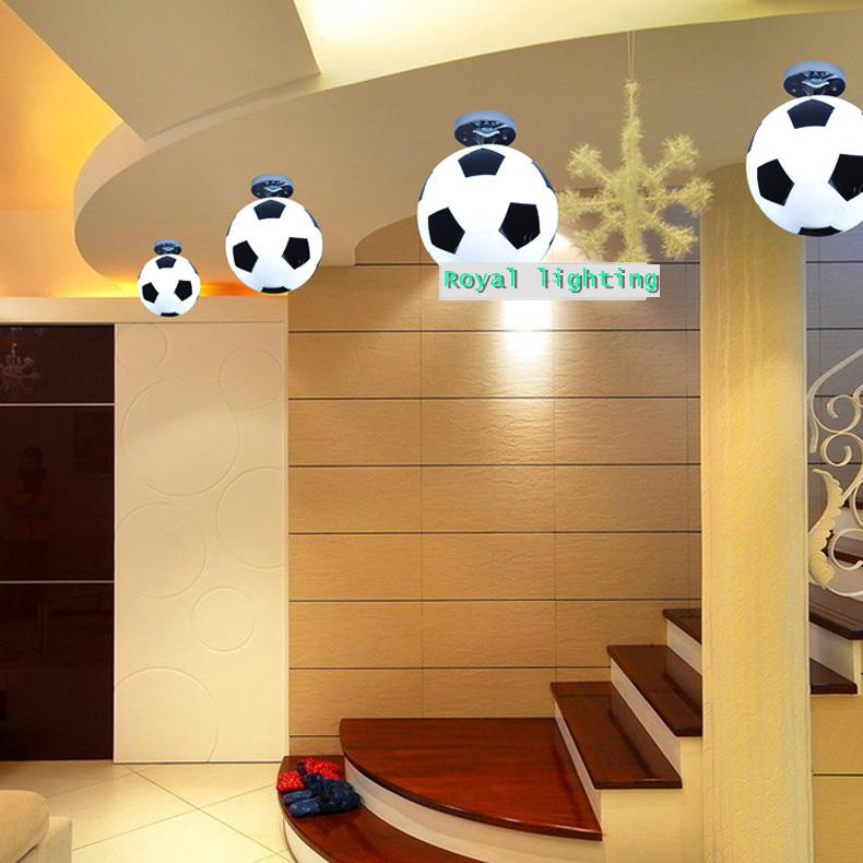 2017 football ceiling lamps abajur soccer ball ceiling for Hanging lights for kids room