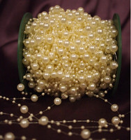 Wholesale 60 Meter Roll DIY Ivory Pearl Beads Strand Garland Wedding Centerpiece Flower Table Decoration Crafting Accessory