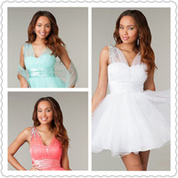 Reference Images Chiffon Portrait 2014 New Arrival Short Sleeveless Babydoll Homecoming Dresses Corset V-Neck Side Zipper Rhinestone Detailing Matching Prom Celebrity Gowns