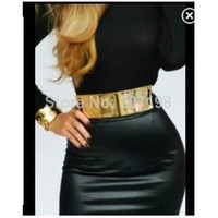 Belts Belts 4 cm Kim kardashian belt Metal Gold Plate Elastic Mirror Belt 6cm Wide , black and nude with hook closure, belt for women 2014