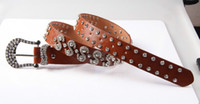 Wholesale womens western belts with rhinestones bling rhinestone belts for women brown leather belt