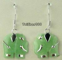 Cheap Natural Green Jade Silver Elephant Pendant Earrings