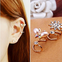 Wholesale 2in1 sets lady fashion EAR CLIP EAR STUD EAR CUFF EARRING Charm top grade pearl style earrings ear studs for women Exclusive design studs