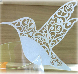 2016 New White Bird Place Name Card Escort Card Cup Card Wine Glass Card Seat Card For Wedding Party Favors Table Decoration