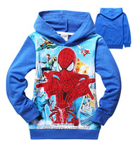 Wholesale 9 off IN STOCK ON SALE Fashion spiderman boy Terry Hooded long sleeved hoodie sweater children clothes colors DROP SHIPPING TM