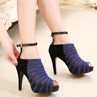 Men ankle strappy sandals - 2014 spring and summer sandals latest European and American mosaic mesh ankle strappy high heeled fish head matte leather stitching buckle