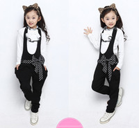 Wholesale 4 colors autumn new korea style fashion girls sets with bow childrens The princess two piece overalls kids coat dot freeshipping