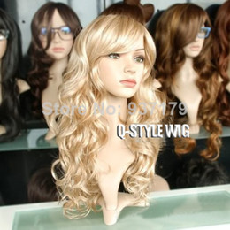 Cheap Medium Length curly hair wig festival dance party wig, mannequins blonde color heat resistant Synthetic Fiber wigs