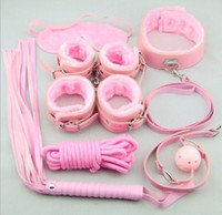 Wholesale New Pink Bondage Kit Set Rope Ball Gag Furry Cuffs Whip Collar Blindfold Adult Sex Toy