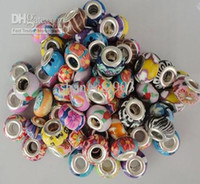 Wholesale Silver European style rainbow glass beads hot sale can mix colours