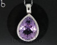 Wholesale Vintage Big Pear Ct Solid Kt White Gold Natural Diamond Purple Amethyst Pendant