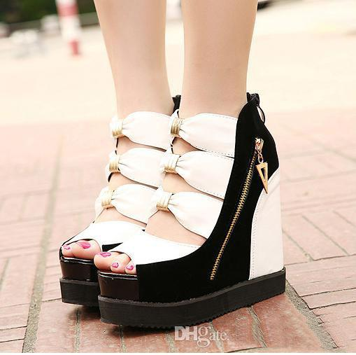 Brand new korean sexy bowtie hollow out roman style shoes gladiator sandals platform wedge Korean fashion style shoes