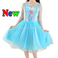 TuTu Summer A-Line 2014 Hot Sale Frozen Elsa Dress Children Girl Princess Dresses Cartoon Movie Cosplay Costume Free shipping drop shipping