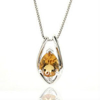 Chains Pendants Shandong China (Mainland) Guaranteed 100% 925 silver pendant crystal pendant Natural Citrine pendant fashion jewelry Free Shipping by CPAM SP0093C