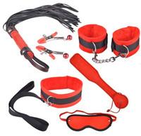 Wholesale 6 in Fetish Bondage Restraining set Kit Paddle Cuffs Neck Collar Lead Whip Mask