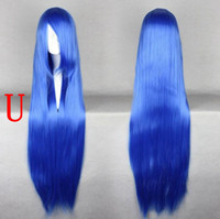 Red Straight Synthetic Hair White Color,Orange Color and Black Color,Beautiful Long Party Wig with Side Bangs,Blue Wigs,Heat Resistant Cospaly Wigs on Sale