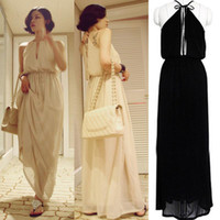 Casual Dresses Halter Ankle Length Wholesale - Womens Halter Open Back Empire Waist Boho Summer Party Beach Maxi Long Dress HOT