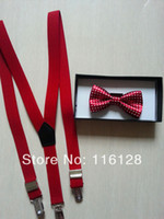 Unisex Pigskin Needle Buckle kids suspenders and bow ties RED with white polka dots 1-6years