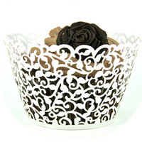Wholesale White Filigree Vine Cupcake wrapper Laser Cut Cake Liners Wedding Party Baby Shower Supply