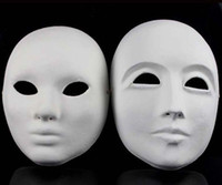 paper face mask - Paper Match Masks Full face Pulp Mask Party Masks Festive Party Supplies Full face White Color Adult Size DIY Painting Men Women Masks