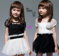 Wholesale New Kids Toddlers Girls White Black Flower Princess Tutu Mini Dress years girls dress clothing children s baby kids