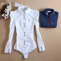Wholesale Lowest Price New Fashion Women Elegant Long Sleeve Cotton OL Body Shirt Button Design Dark Blue White Wine red S M L XL