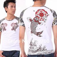 Men Cotton Polo Free shipping Men Apparel Tees Summer China Wind T-shirt Short sleeve Carp tattoo T-shirt Neck Tattoos 100% Cotton