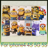 Wholesale for iphone5 S S iphone phone shell little yellow cartoon man Thief Despicable Me Minions Daddy Hard Shell Case Plastic Cover