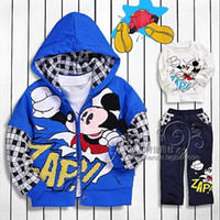 Wholesale 4 sets children mickey mouse set and girls minnie mouse suit pieces set hoodie tshirt pant best quality boys tracksuit