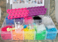 Wholesale 12 Colors Loom Bands Kit With Bands Clips New Looms Board Hook Beads Collectionand Great Storage Case