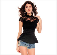 Men Polo Short Sleeve sexy clothing 2014 new European and American black lace sexy women's boutique bare printed T-shirt 25129